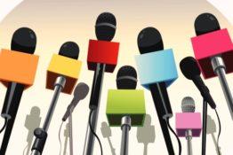 Microphones on the podium